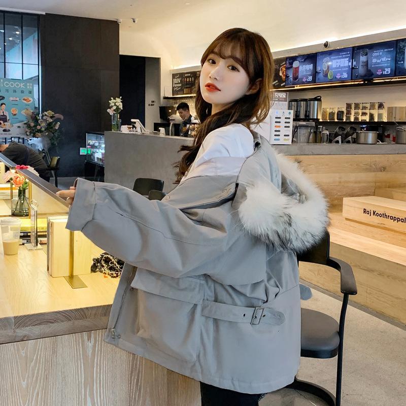 Осень зима 2021 новая вниз по корейской версии модный свободный и тонкий женский хлопок мягкая куртка большие волосы