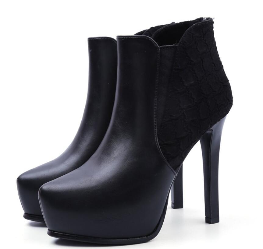 12cm pointed stiletto ankle waterproof platform platformMartin boots high-heeled shoes autumn and winter