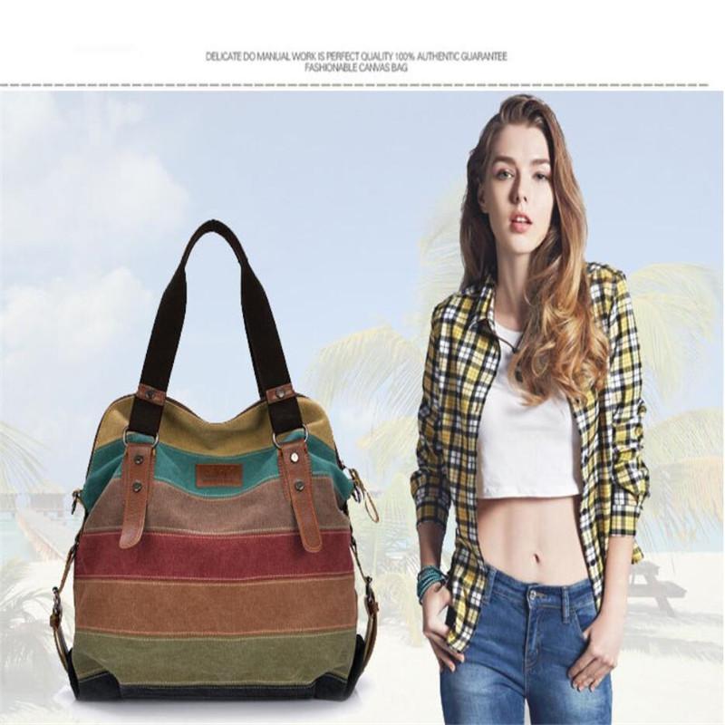 Tasche Frauen Hit Handtasche Schulter Beiläufige Tasche Farbe Leinwand Farbe Damen Taschen Tasche Diagonale Handmode Gestreifte Crossbody Rhawk