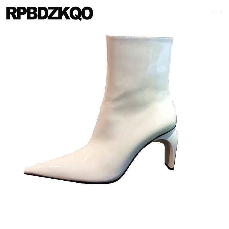 Boots Pointed Toe Size 4 Shoes Side Zip Winter Ankle White Block Booties Fur Patent Leather Chunky Women Fashion 2021 High Heel1