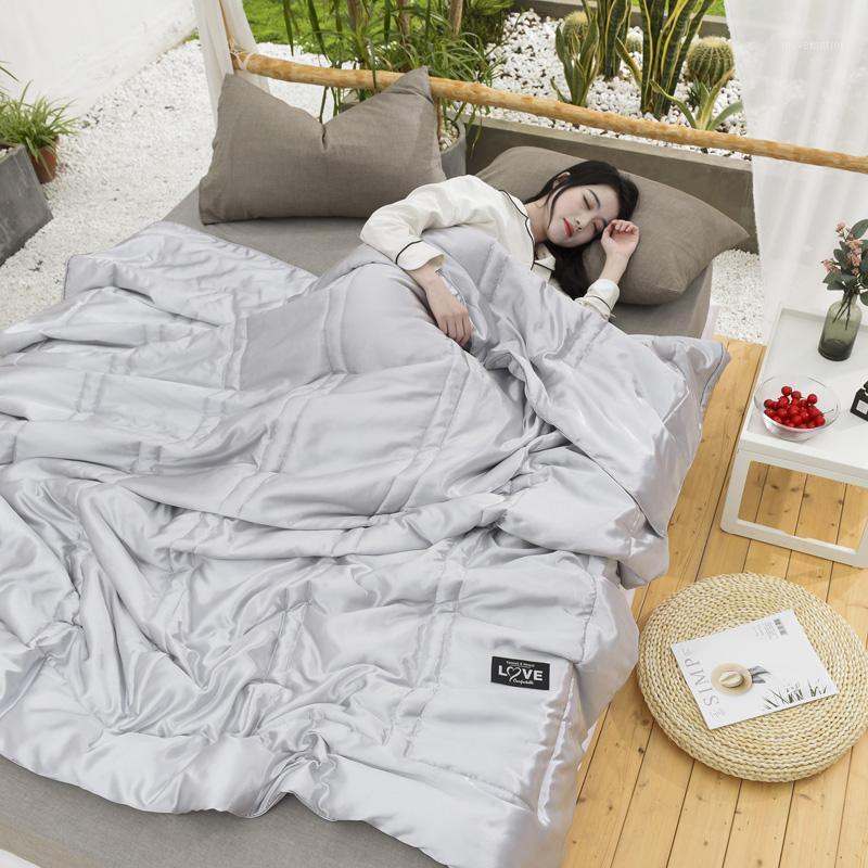 Cor pura colcha de verão cinzento colcha cobertor moda consolador macio cama capa gêmeo rainha completa colchiting sólido cama