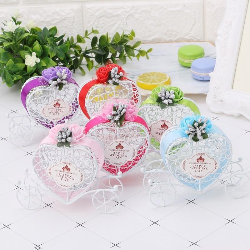 Scatole di cioccolato a forma di carrello cuore romantico Cenerentola Caramella scatola di caramelle Bomboniere Decor del partito Regalo