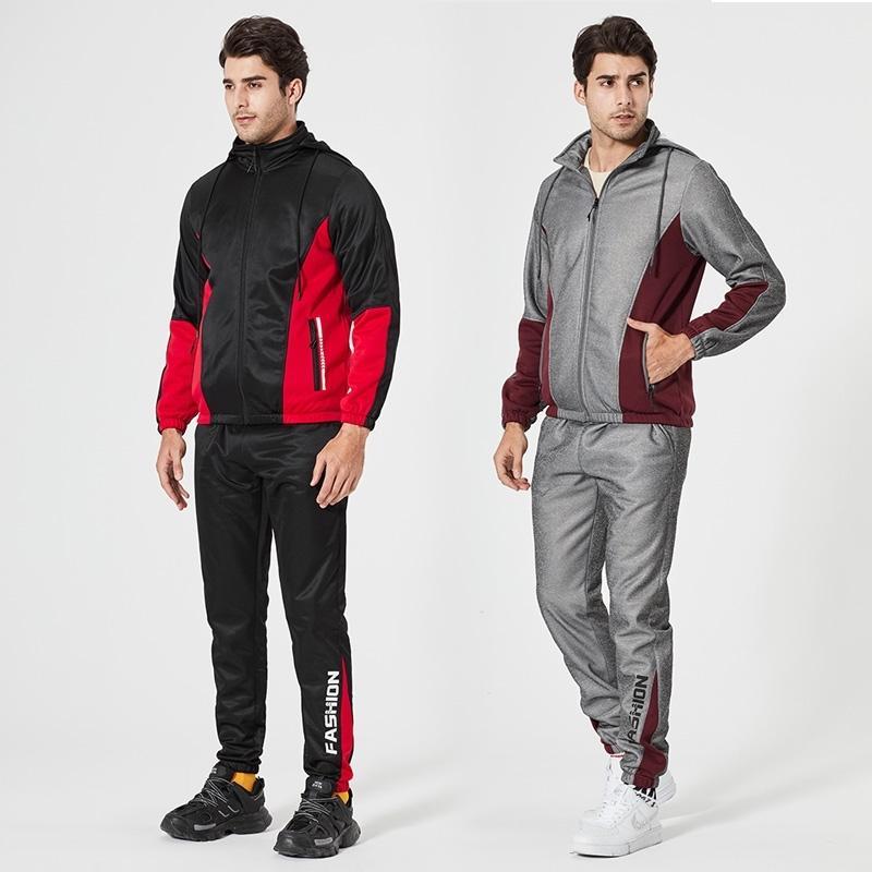 Jogger Tracksuit Homens Sportswear Sport Sport Roupas Homens Primavera Patchwork Zipper Hoodies + Calças 2 Pc Running Gym Sets