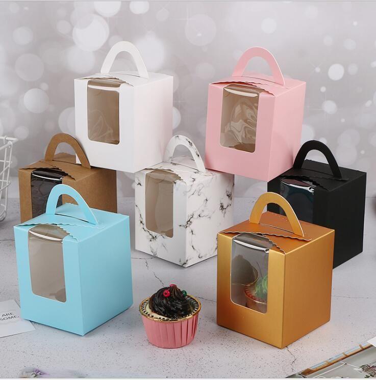 كعكة مربع كب كيك صناديق مع نافذة مع مقبض معكرون مربع موس كعكة مربع عيد ميلاد حزب خبز المطبخ لتسوين الطعام 6 ألوان WMQ303