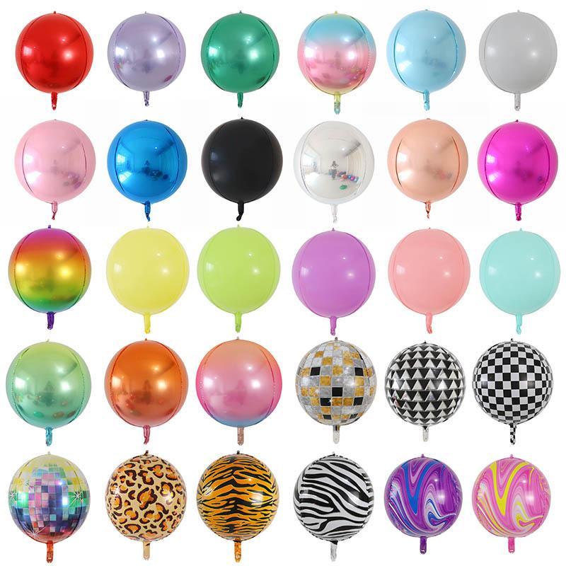 20pcs Rose Gold Silber 4D große runde Kugel geformt Folien-Ballone Babyparty Hochzeit Geburtstag Partydekoration Air Ball 1027