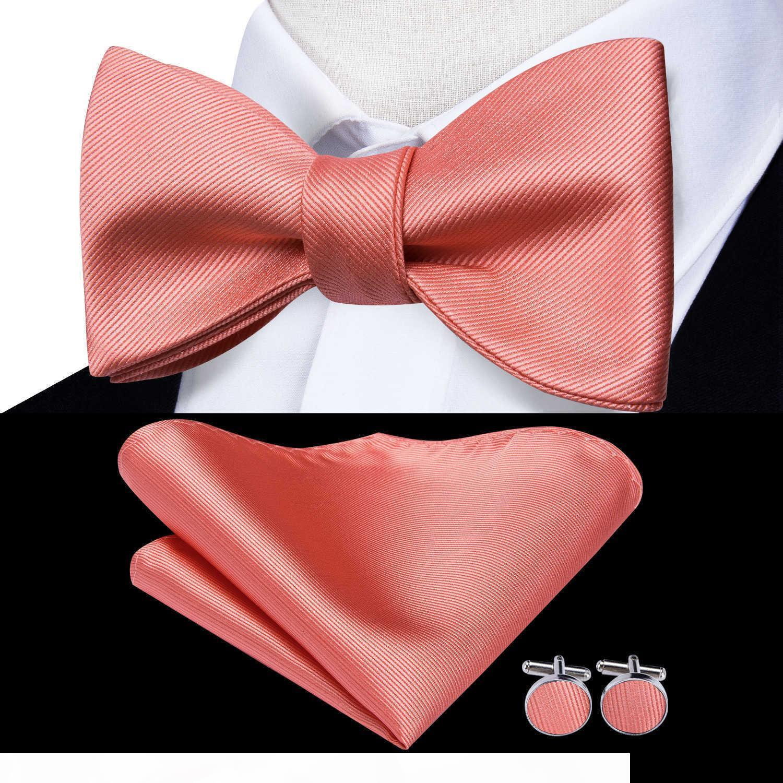 Hi-Krawatte 100% Seide Klassische Korallen Rosa Rose Hochzeit Bogen Krawatten Für Männer Hanky Cuffen Set Mode Golden Rosa Rot Pfirsich Set