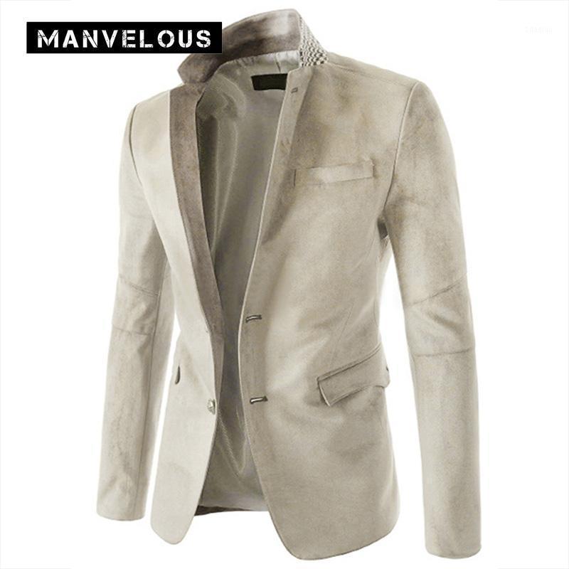 Manvelous Wildleder Blazer Herren Mode Fashion Casual Slim Dünnscholle Baumwollmühle Gepeckt Revers Patchwork Langarm Herren Blazer Suits1