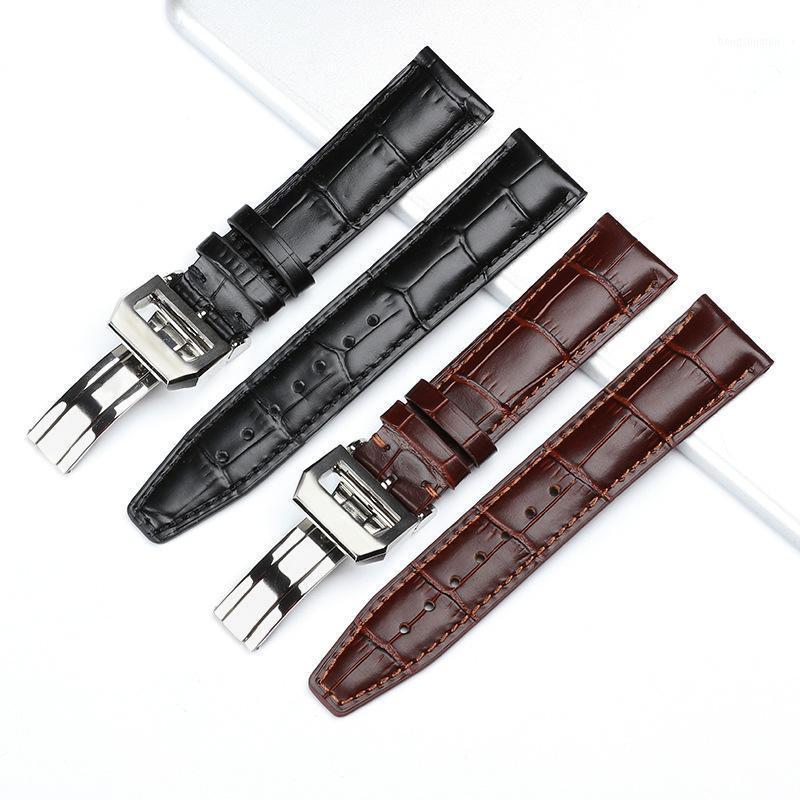 Genuine Watchband Watchband Black Brown Watch Strap com fecho de implantação apto para 's 20mm 22mm substituição pulseira1 bandas