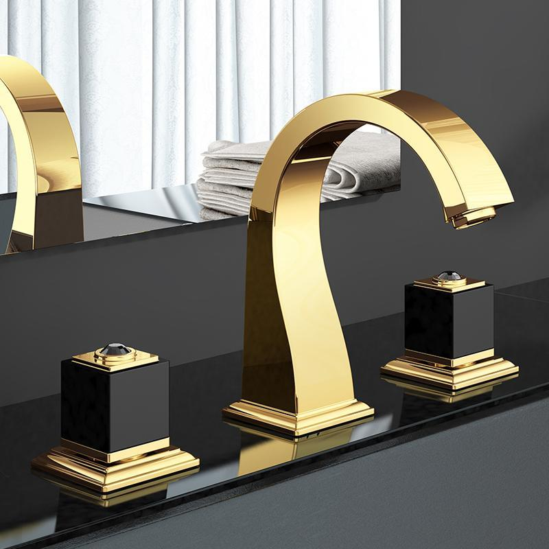 Badezimmer Waschbecken Wasserhaare Gold Luxus Messing Wasserhahn Zwei Griff Drei Loch Top Qualität Becken Mischer Tap