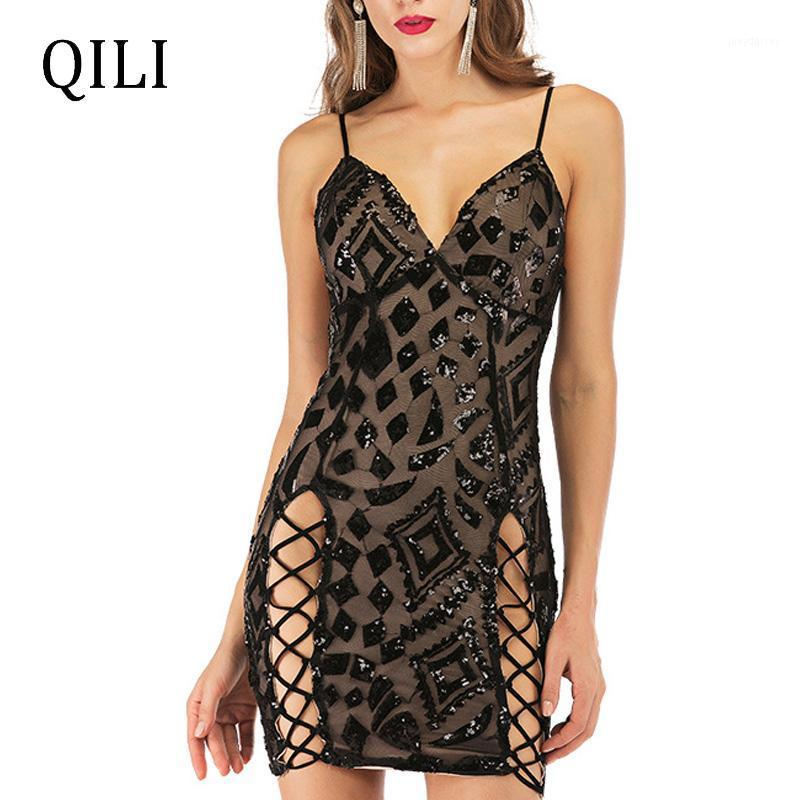 Qili Femmes Summer Bandage Robe à paillettes Sangle Spaghetti Sangle sans manches Colf Colfer Mini Robes Élégante Dame Party Club Dress1