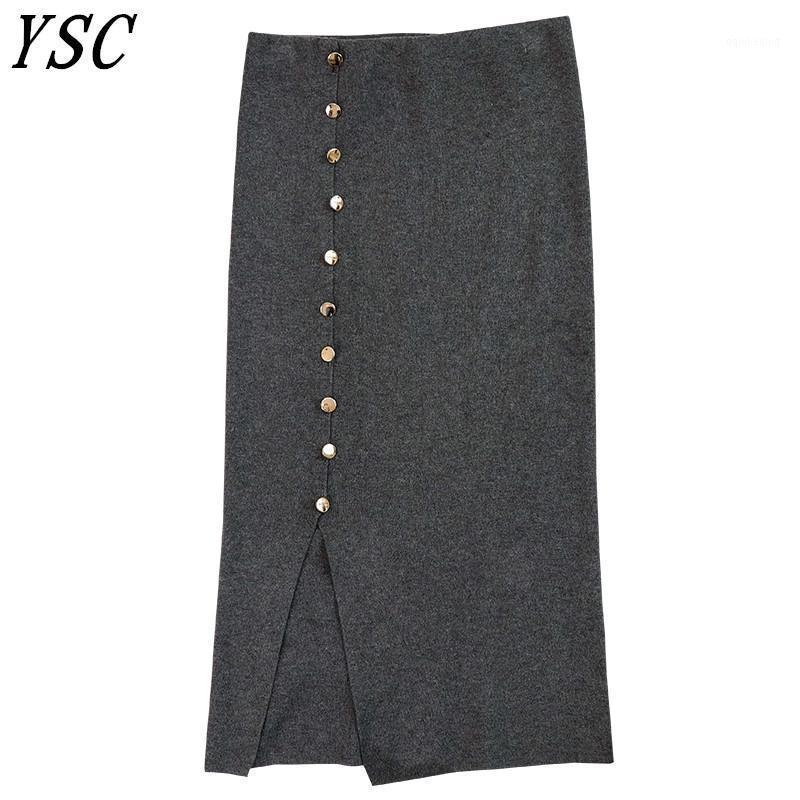 Gonne 2021 Autunno Ultimo Stile Stile Donne Maglia Caskmere Blackmens Skirt Gonna a bottone a colori solido Decorazione di alta qualità Skirt divisa di alta qualità1