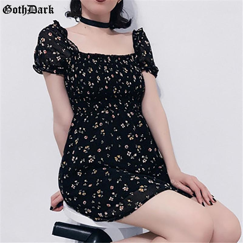 Goth Dark Gothic E-girl Black Chiffon Summer Dresses Fashion Floral Printed Elastic Square Neck Backless Patchwork Women Dress