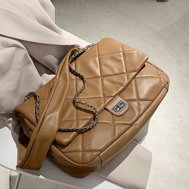 Hiver Grand sac PU Sacs Sac Sacs Main Femmes Quiltives Sac Femme Sacs à main de luxe Femmes Un designer Épaule Cuir Travel Femme Jngel