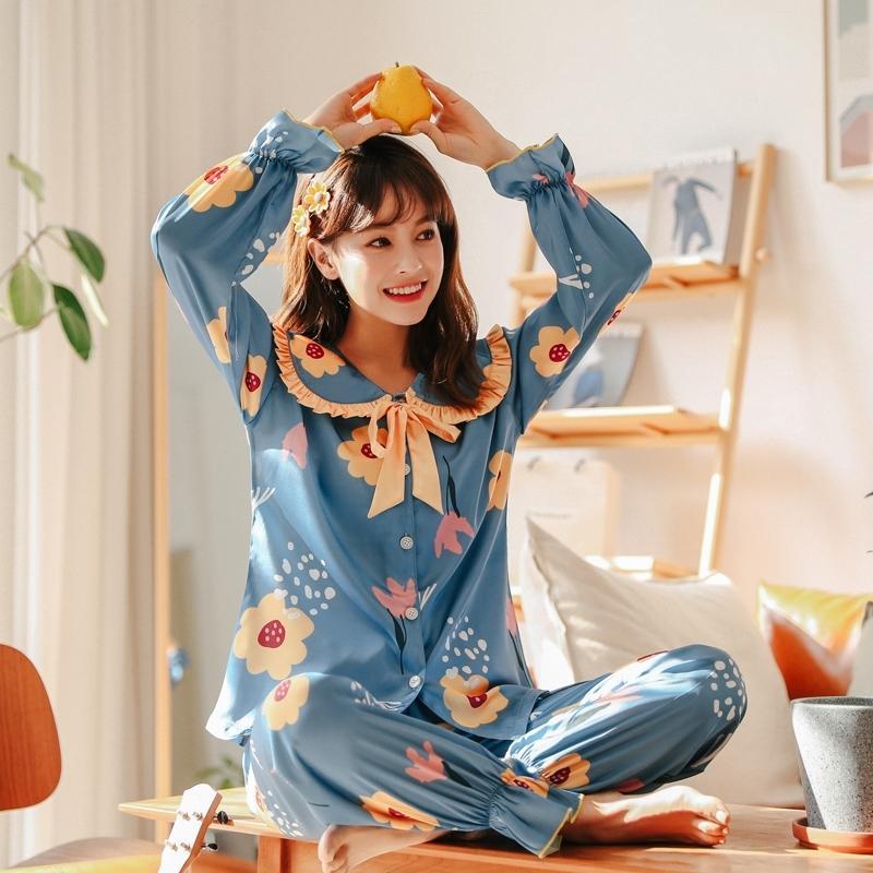 WAVMIT Оригинальный ленивый стиль поддельный цветок шелковые пижамы набор для женщин весенние летние женщины спящие одежды набор кукол воротник милые усадки грузовые y200425