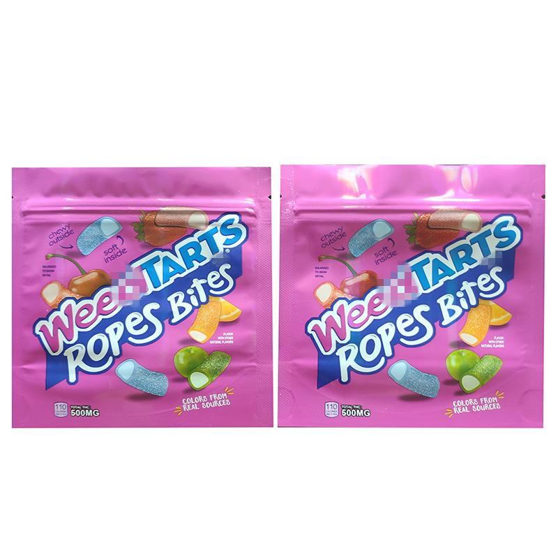 Cheap Weedtarts Edibles Mylar Bags Packaging Empty 500mg Weedtarts ropes bites Gummies bags Smell proof resealable edibles packaging