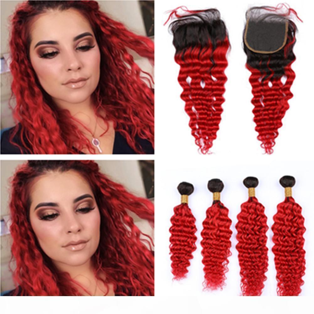 """OMBRE Яркие красные человеческие волосы 4 пакета и закрытие бразильской глубокой волны # 1b красный омбре девственницы шнурка волос 4x4 """"с ткачими пучками"""