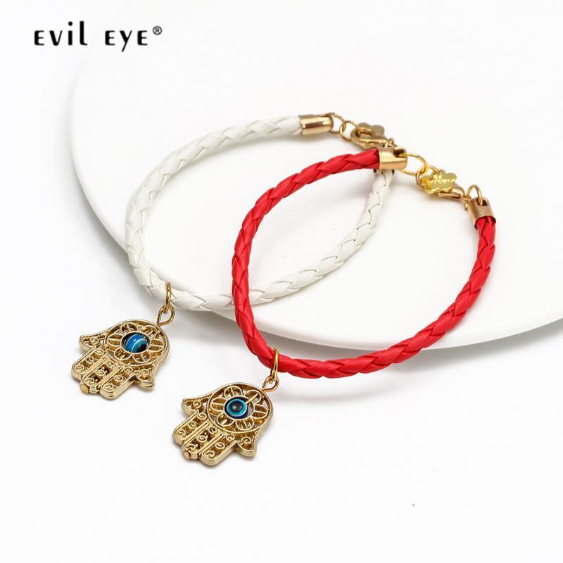 Malvagio occhio fatima mano blu turco malvagio occhio fascino braccialetto multi colore corda catena braccialetto gioielli moda per le donne ragazze EY192