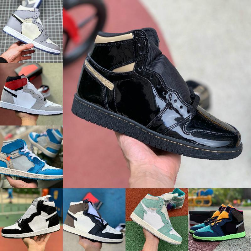 2021 الجديدة 1 1S كرة السلة أحذية رجالية المرأة التعادل صبغ OG الحيوية هاك المصباح الأزرق UNC براءات الاختراع الأبيض أسود ROYAL تويست تو الخضراء MOCHA مصمم