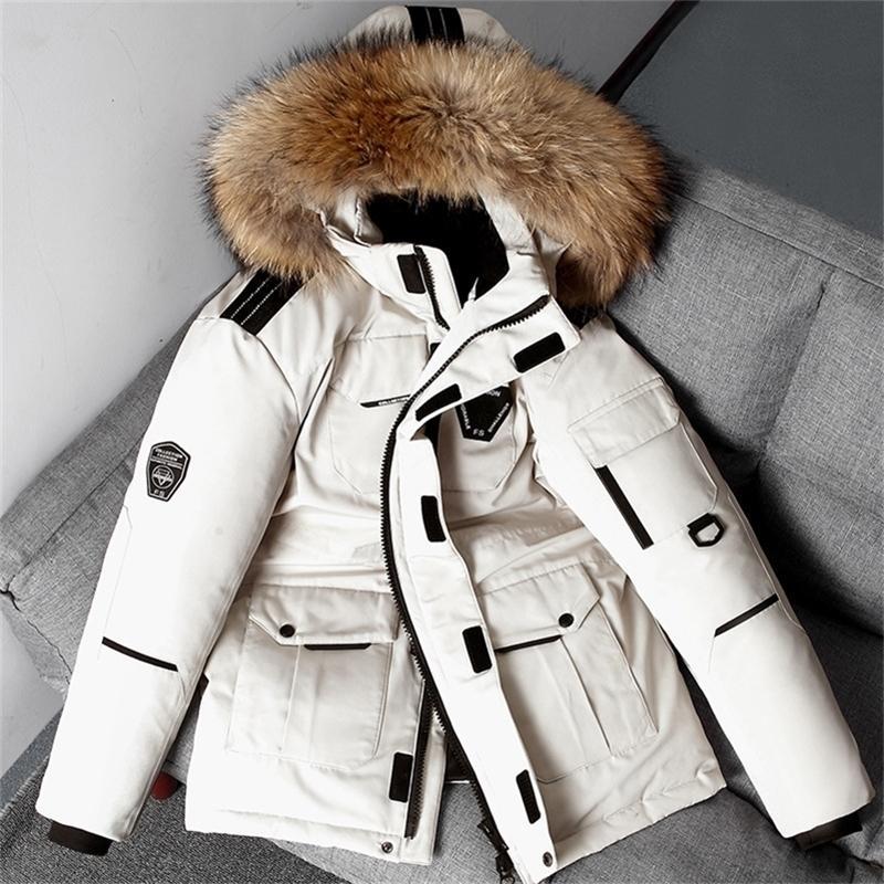 -30 gradi della neve Giacca invernale della neve Anatra bianca giù Parks Addressini Cappotto della pelliccia con cappuccio Spessa calda Vento Vento Uomo 201226