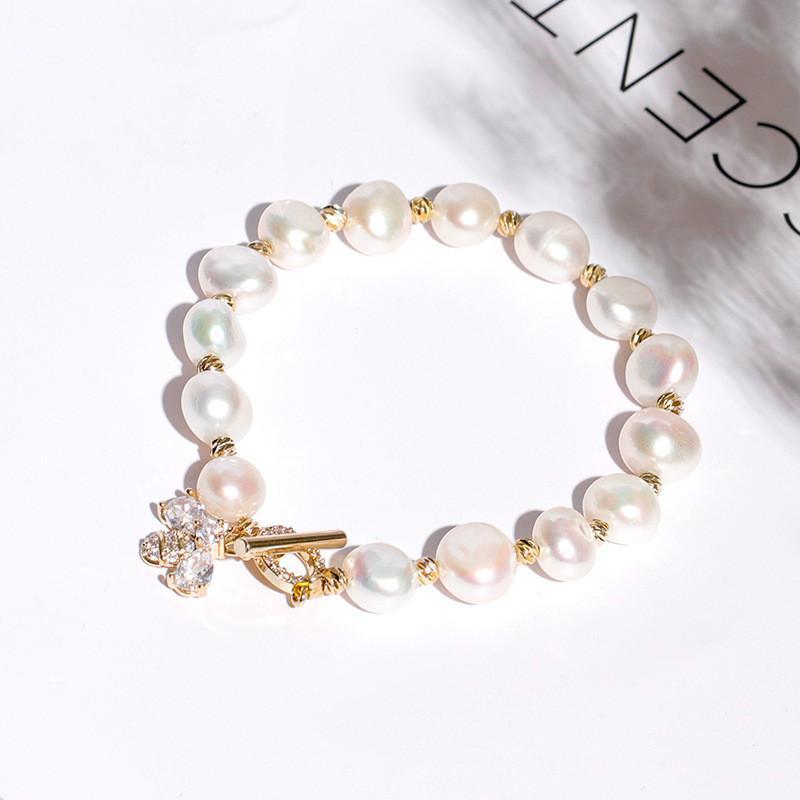 Bracciale all'ingrosso della perla d'acqua dolce naturale con bling zircone Bee Bracciali Charm cubo per regalo delle donne