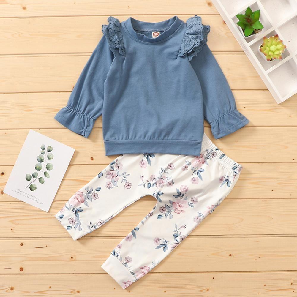 ZWF435 Девушка малыша устанавливает младенческую детскую дети вспышки рукав футболка цветочные брюки наряды наборы пуловер хлопчатобумажная зимняя одежда для девушки 201126