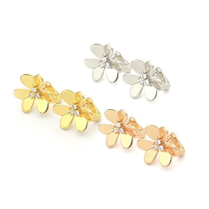 Brand designer jewelry high quality fashion luxury Fine Jewelry clover earrings ladies clover earrings