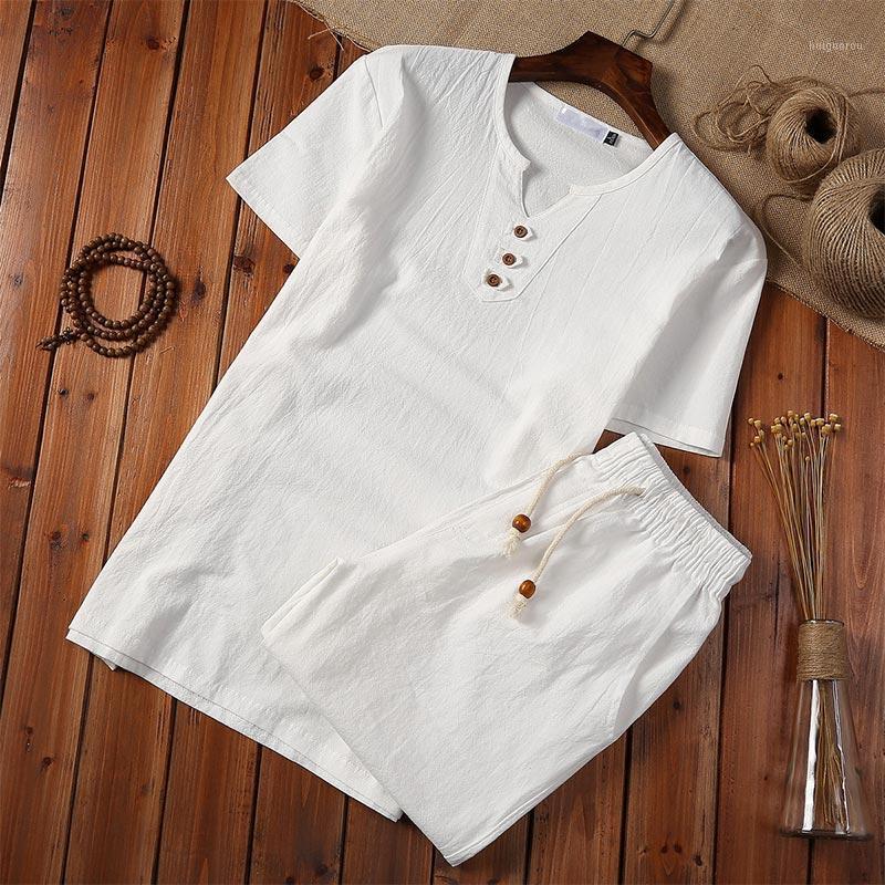 Linho de algodão estilo chinês homens camisa branca shorts conjunto botão pulôver botão de manga curta mais 5xl 2020 homens verão casual terno1