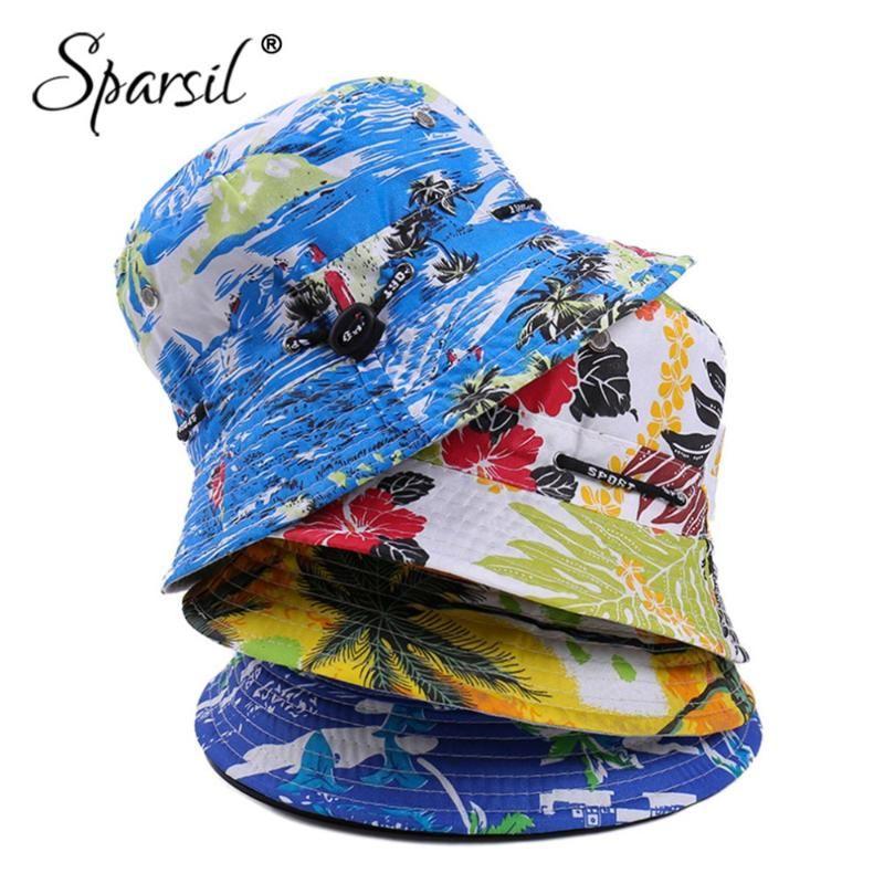 cloches sparsil 남자 썬 스크린 여름 물고기 조정 가능한 모자 여성 패션 꽃 통기성 해변 배럴 모자 더블 사이드 착용 가능한 쌍