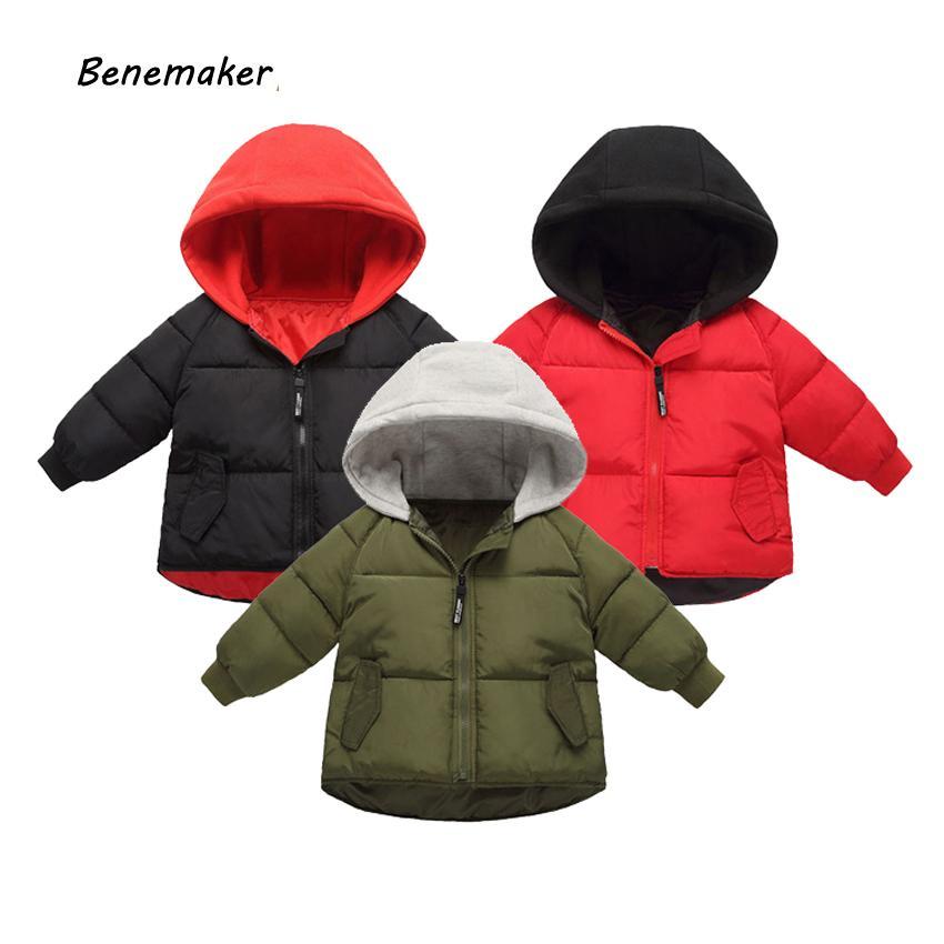 BeneMaker Детские зимние куртки комбинезон девочек мальчик Parkas Windbreaker ребенок 2-8Y теплое пальто одежды с капюшоном для детей верхняя одежда JH104 201127