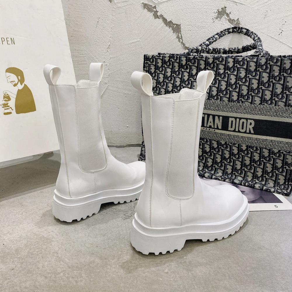 Combat Boots Kadınlar Sonbahar Stretch Bezi Bilek Boots Siyah Gotik Ayakkabı Beyaz Deri Punk Bilek Boots 201019