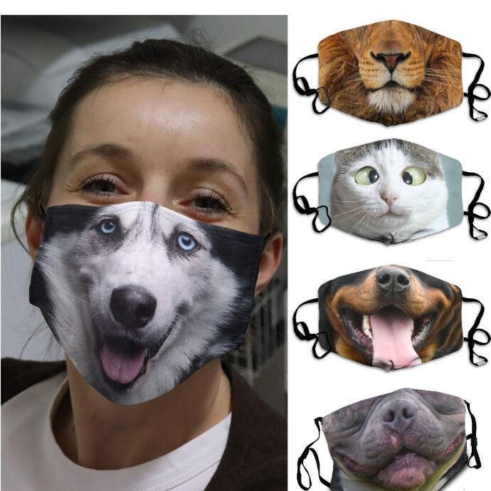 Yıkanabilir Yeniden kullanılabilir Yetişkin Unisex Tasarım Maskeler Noel Hediyesi OWE2037 Maske Komik Yüz Koruyucu Kapak Respiratörü Hayvan Baskı 3D-Print Maske
