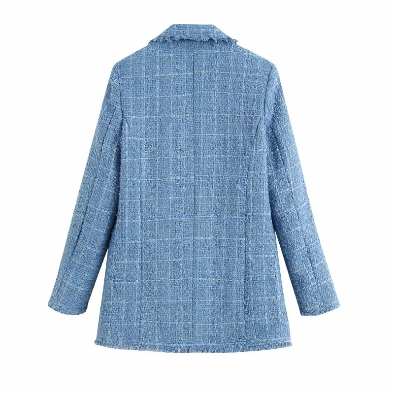 ZXQJ tweed women elegant blue blazers fashion ladies vintage loose blazer jackets casual female streetwear suits girls chic 201013