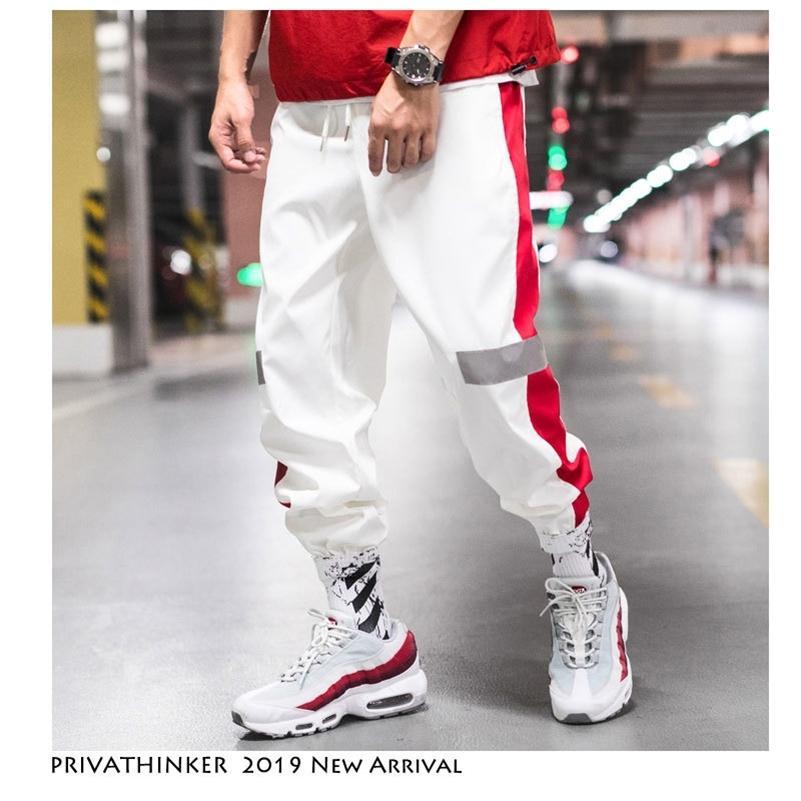 Privathinker Side Stripe Binario Pantaloni Pantaloni da jogger Men 2020 Etichetta riflettente Traccia Harem Pantaloni Homme Streetwear Maschile Hiphop T200704