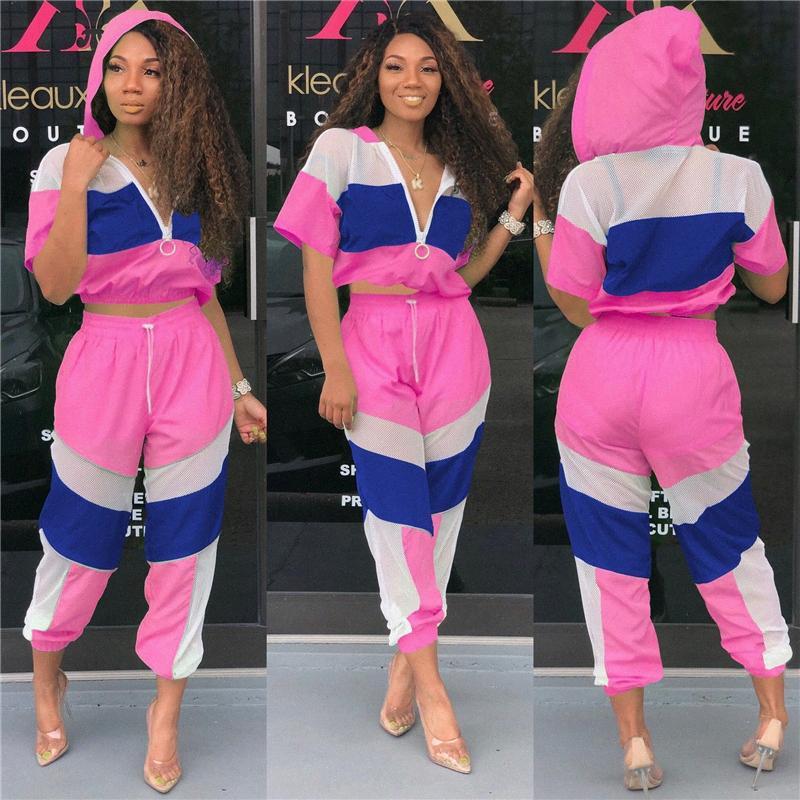 Neon Abbigliamento Donna Beach tuta sveglio elegante sport il vestito casuale di cucitura Maglia con cappuccio + pantaloni coordinati aderente tuta RA7W #