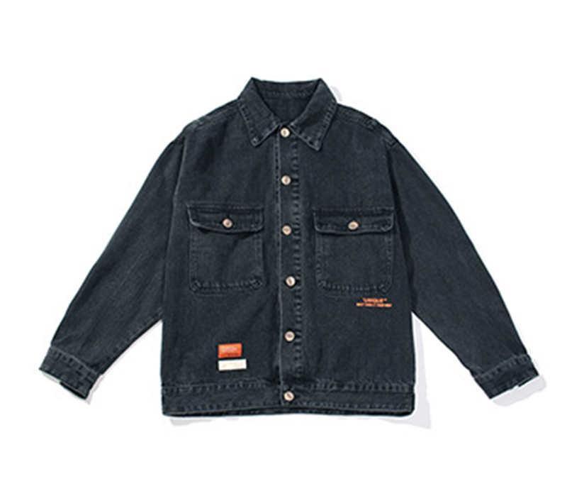 2020 sonbahar ve kış yeni moda marka ceket erkek gevşek kontrast renk etiket kot ceket