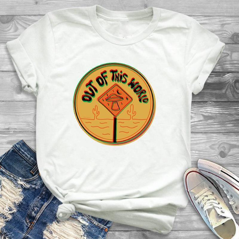 Летние Новые Моды Женщины футболка Harajuku Рубашка из этого мира Печать Футболка Дамы Повседневная Хлопок Топы Tee Девушки Одежда