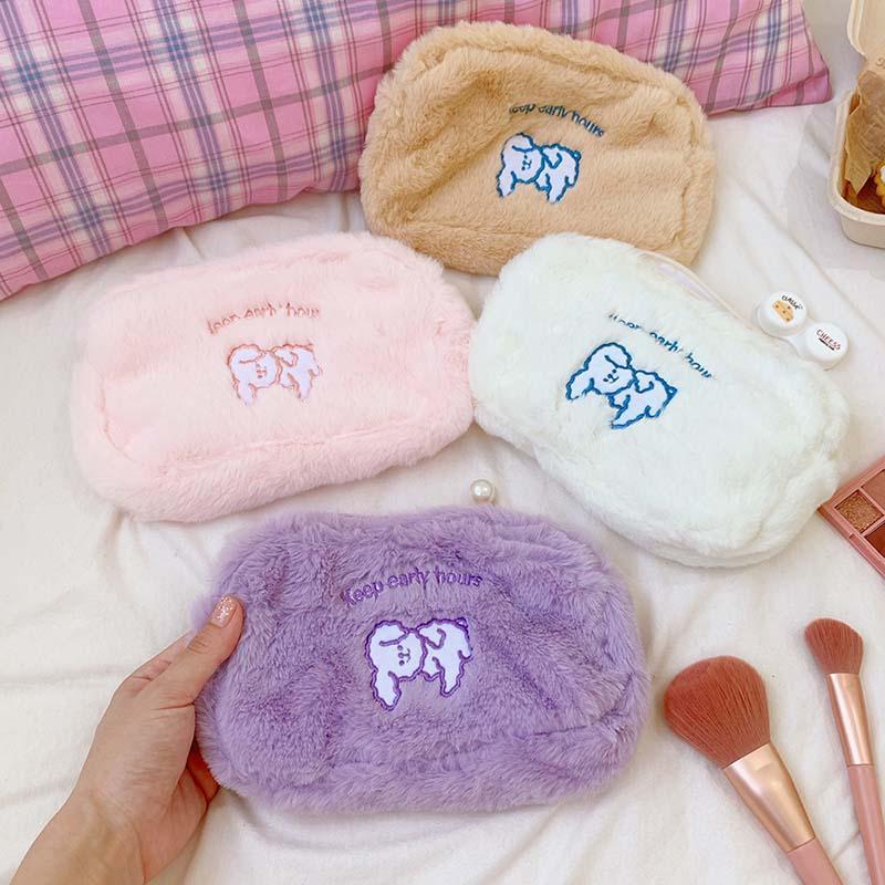 Dogs Travel Cosmetic Make Up Bags Zipper Women Plush Wash Makeup Case Cute Handbag Organizer Storage Pouch Toiletry Bag Bag Wbhnl