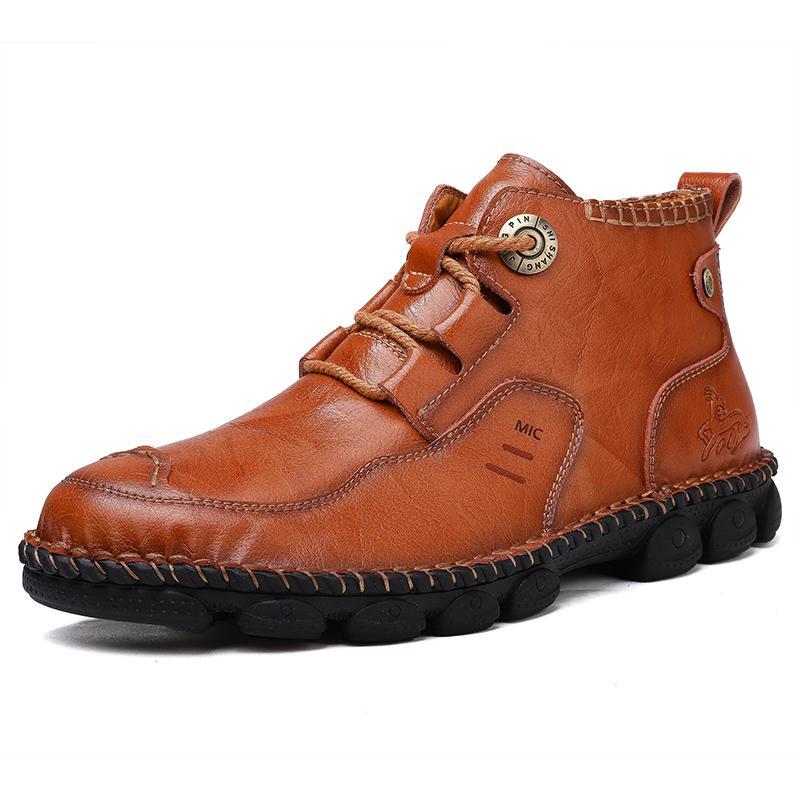 Neue Herbst Winter Männer Schuhe Hohe Qualität Split Leder Herrenstiefel Komfortable Motorradstiefel Herren Knöchelstiefel Große Größe 38-48 201102