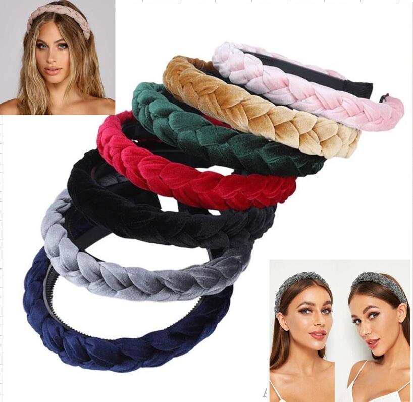 ヘアアクセサリー広い光沢のある織り毛バンド編組ヘッドバンドヘアフープファッションヘアバンドベゼルヘッドドレス6個/