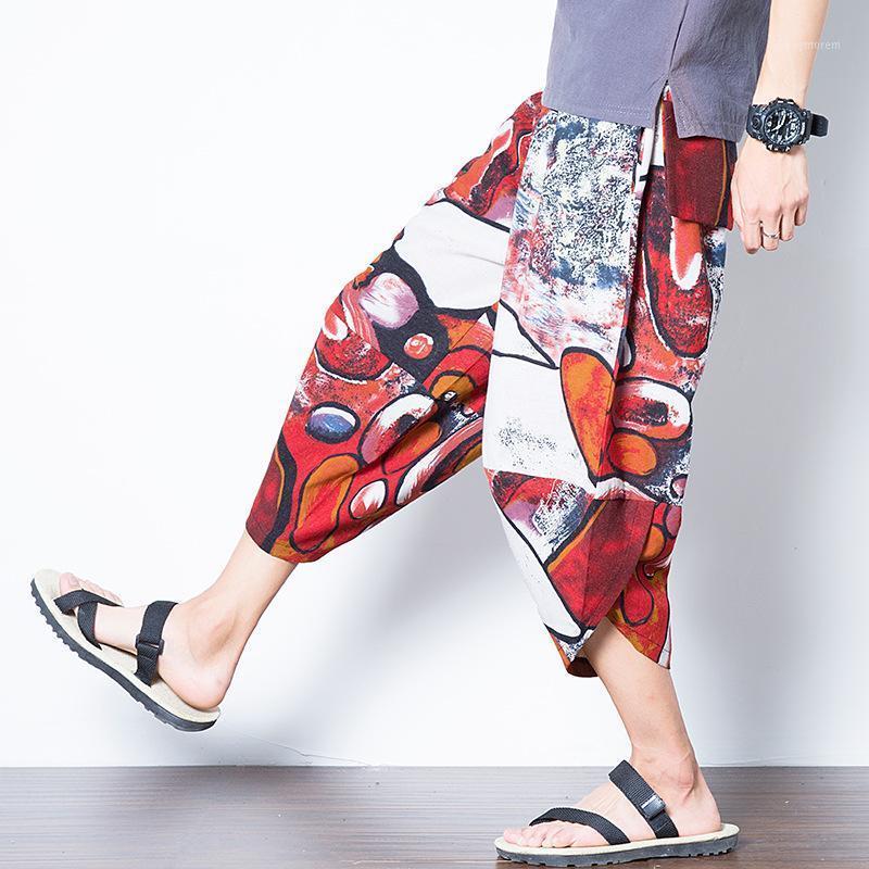 Yaz pamuk erkek kırpılmış pantolon Çin tarzı gençlik gevşek retro baskı büyük boy rahat pantolon erkek plaj sarouel1