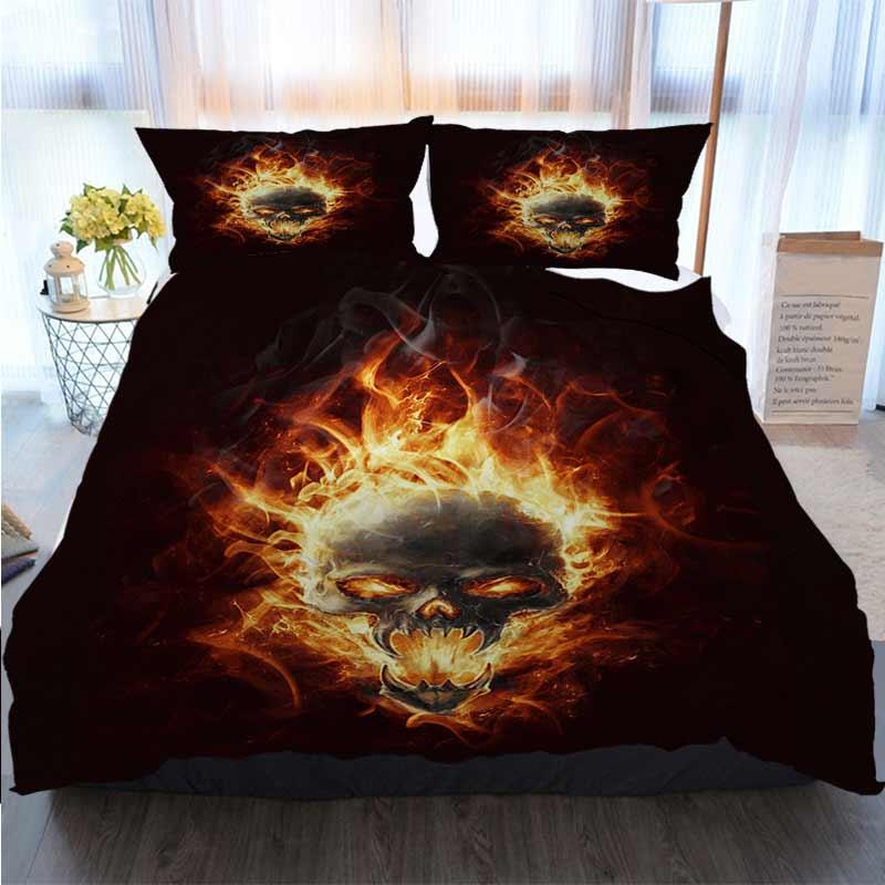 3D Printed Merry Christmas Bedding Set Red Flame Pattern Burning In The Skull Home Luxury Soft Duvet Comforter Cover