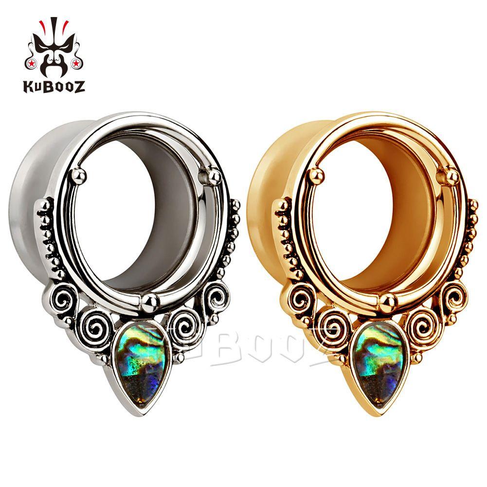 Kubooz الأقراط الجديدة مجوهرات الجسم ثقب مقاييس الأذن المتوسع المقابس والأنفاق مع تصميم شل شعار