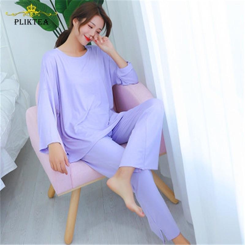 2-х частей набор осень с длинным рукавом повседневная домой домашняя одежда для женщин Свободные сонные модальные пижамы весна женская домашняя одежда 201027