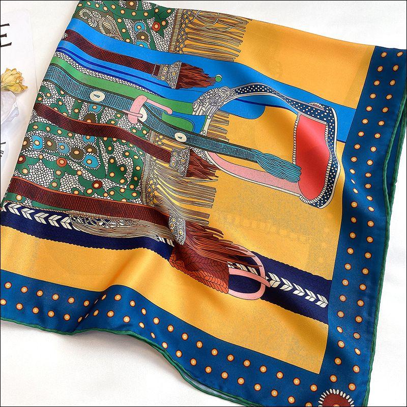 Écharpe à col en soie Foulard Satin Satin Tête de soie féminine pour femme à la main cousue Echarpe 90 Foulard Luxe