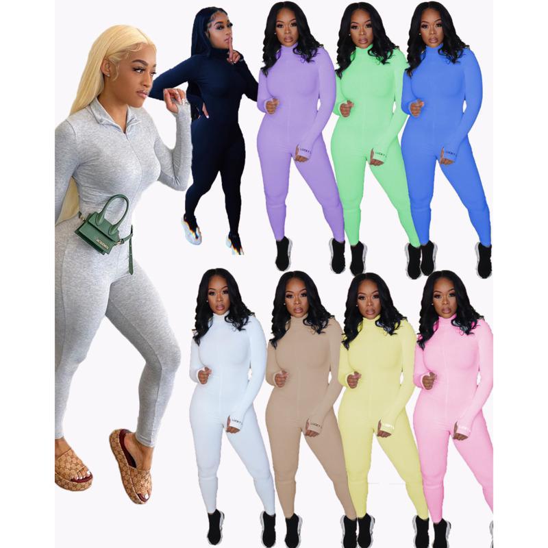 가을과 봄 여성 디자이너 Jumpsuit 슬림 솔리드 컬러 지퍼 슈퍼 소프트 리브 자수 스트레치 대형 피트니스 숙녀 새로운 패션 Rompers