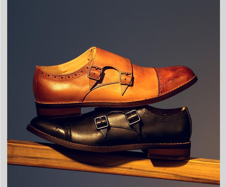Hecho a mano vestido de los zapatos de la hebilla de la correa de cuero genuina en el Slip tallado Brogue talón bajo aumento de la altura inteligentes Zapatos Casual Vintage