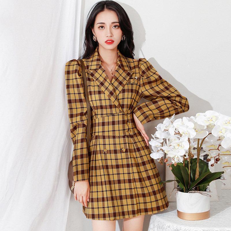 2020 Винтажные клетки Blazer платье женщины осень новая мода дамы профессиональное платье с высокой талией, зубчатая тонкая строка