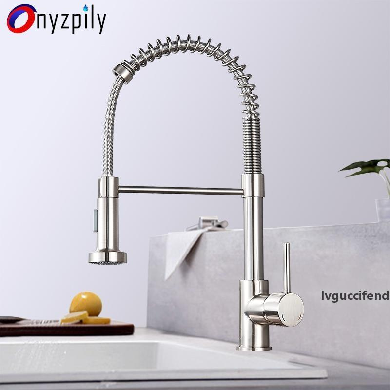 Spring Brushed Kitchen Sink Faucet Pull Down Sprayer Nozzle Single Handle Faucet Mixer Hot Cold Stainless Steel Modern T200423
