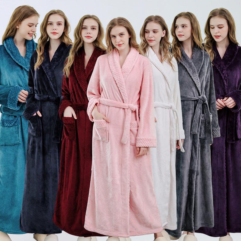 Mulheres Bathrobe Flanela Pijama Outono Inverno Longo Robe Coral Veludo Espessado Bathrobe Home Desgaste Toalha de Banheira Toalha de Praia