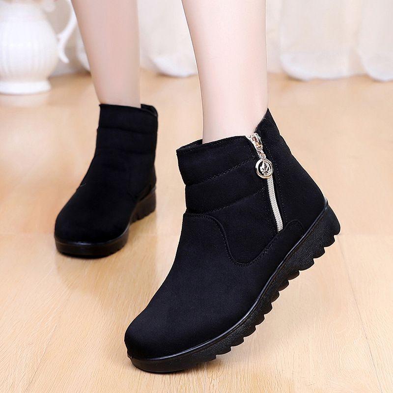 2020 النساء أحذية الثلج الدافئ الفراء قصير القطيفة شتاء الكاحل الحذاء زائد الحجم منصة السيدات الجلد المدبوغ أحذية البريدي أنثى الراحة قطرة شيب